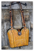 #151-17 Golden palomino cowboy boot purse with turquoise patina copper spots