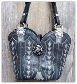 #154-15 Dark grey with light grey inset cowboy boot purse