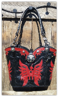 190-16 Red and Black Eagle Cowboy boot purse