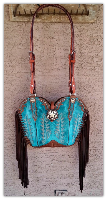 195-16 Turquoise Cowboy boot purse with fringe