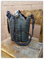 198-16 Tall Grey with blue inset cowboy boot purse