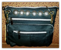Leather bag for purse or on your belt loops Black