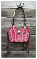 #205-16 Fuscia Pink leather Cowboy boot purse with fringe