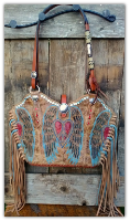 #212-16 Peace wings cowboy boot purse with fringe