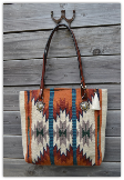 215 Saddle blanket bag, Orange and Turquoise
