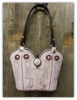 855-14 Pink western bag with purple swarovski crystals