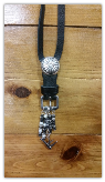 #102 Buckle Necklace Black with pearls and bird