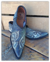 Western Shortie Ankle Boots in Denim Blue
