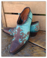 Western Shortie Ankle Boots in Turquoise with Brown overlays
