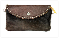 Cowhide Clutch bag Dark Brown