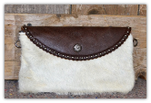 Cowhide Clutch bag Brown with white hide