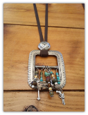 #112-16 Recycled belt buckle pendant with concho and turquoise