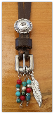 #110-16 Recycled horse tack pendant with concho and turquoise