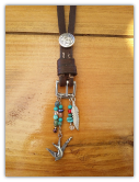 #111-16 Recycled horse tack pendant with squash blossom concho and turquoise