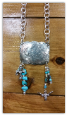 #108 Silver concho buckle with turquoise, cross and steer charm necklace