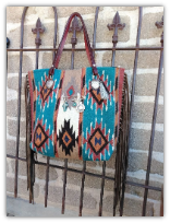 210a Saddle blanket bag, with fringe, sterling silver