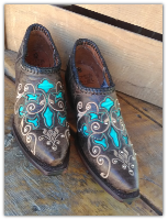Western Shortie Ankle Boots in Black with Turquoise inlays