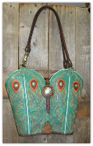 #429 Teal with orange tear drops, round conchos, horse rein handles