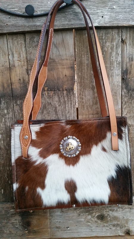 Cowhide bag with leather handles