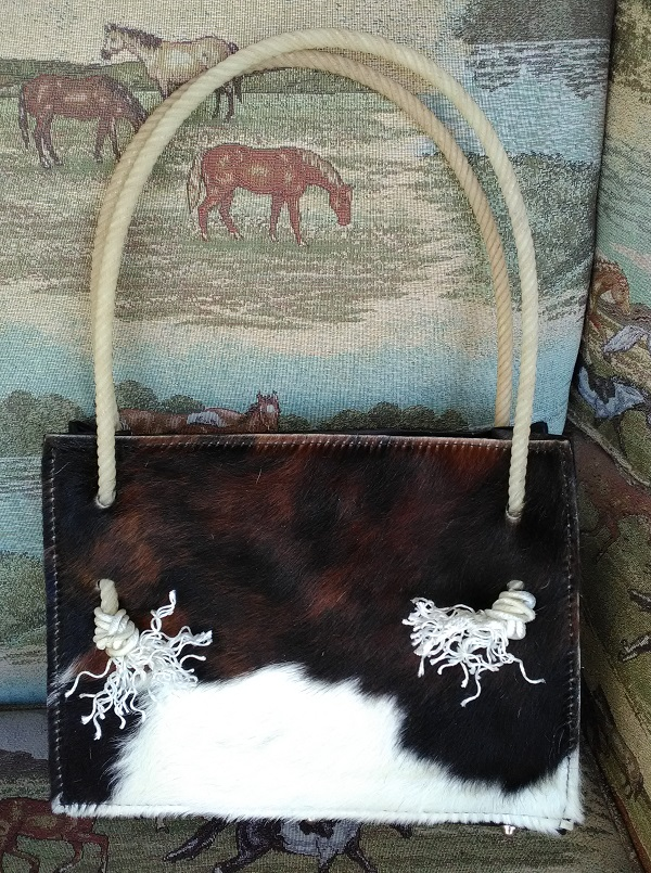 Brindle cowhide bag with rope handles