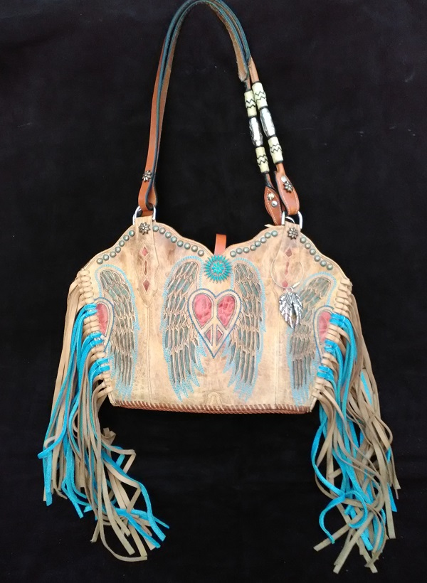 Heart, peace, wings cowboy boots purse