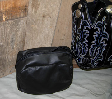 Leather zippered pouch