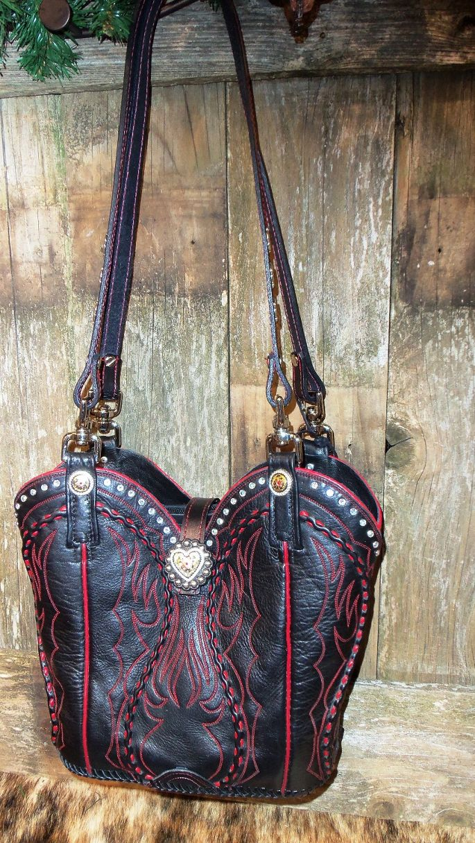 Black and red Cowboy Boot Purse