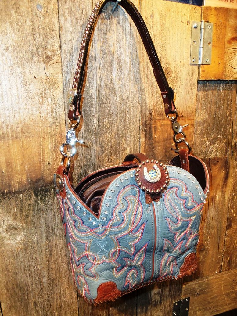 Blue cowboy boot purse by Diamond 57