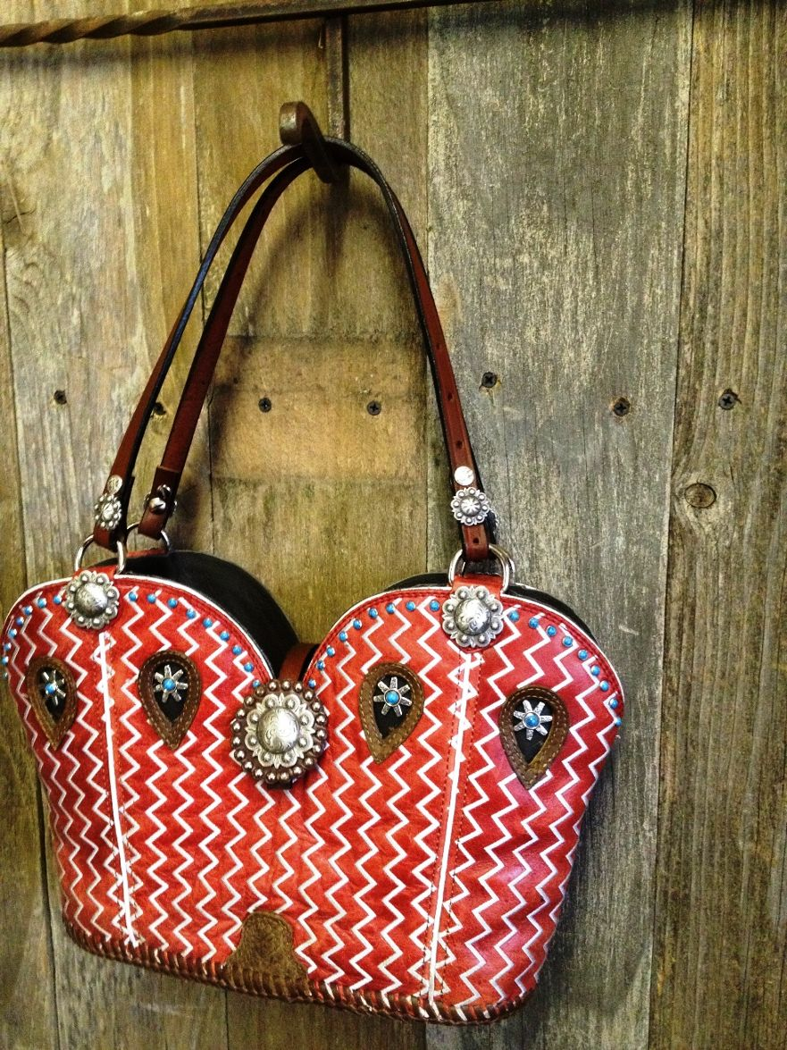 Red Cowboy boot purse