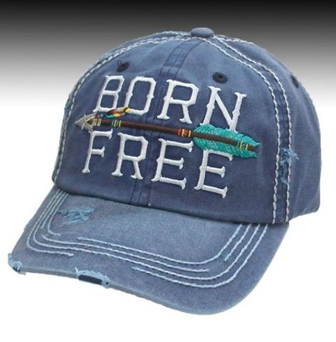 Rustic Patriotic ball cap Born Free