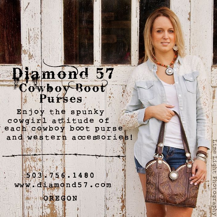 True West magazine ad for Diamond 57 cowboy boot purses