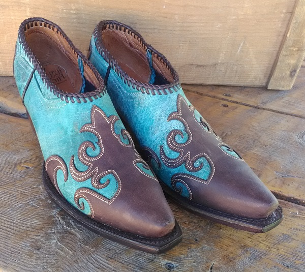 Brown and Turquoise western ankle boots