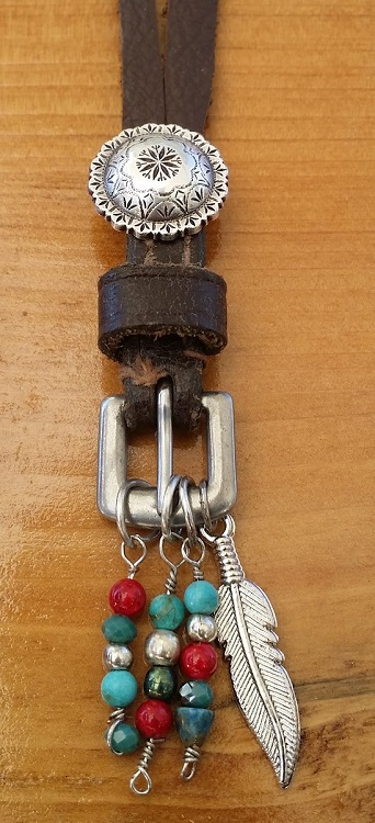 Pendant recycled from horse tack buckle and turquoise