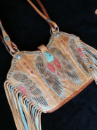 #100-17 Western purse made from peace, heart wings  corral cowboy boots