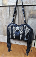 108-18 Rich Black and White cowboy boot purse with fringe