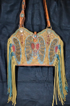 #125-18 Peace wings cowboy boot purse with fringe