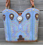 #128-17 Sky Blue Western purse from cowboy boots