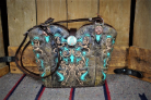 136-18 Smokey Brown Cowboy boot purse with Turquoise Inlays