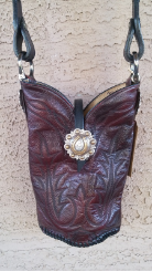201-14 Dark brown cowboy boot purse