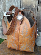 #201-16 Carmel cowboy boot purse with tooled leather handle