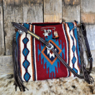 207a Red horse blanket purse, Single handle, Rustic Charm