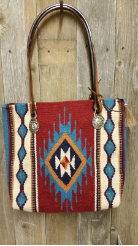 207 Saddle blanket bag, Red, Turquoise diamond, horse reins and conchos