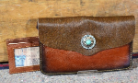 Cowhide Clutch bag solid brown cowhide medium brown leather