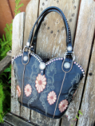 #626-11 Black cowboy boot purse with flowers