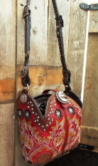 #632-11 Red Cowboy boot purse with multi colored stitching