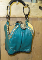 #662 Teal  roper cowboy boot purse with horse bit handle