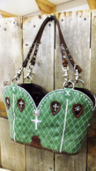 #692 Light green with white stitching and cross