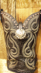 #707 Black cowboy boot purse with white stitching, pink crystals, pink conchos, pink buckle set