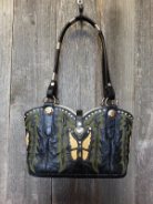 727-13 Black cowboy boot purse with yellow butterfly