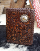 Recycled Western Wallet made from tooled leather
